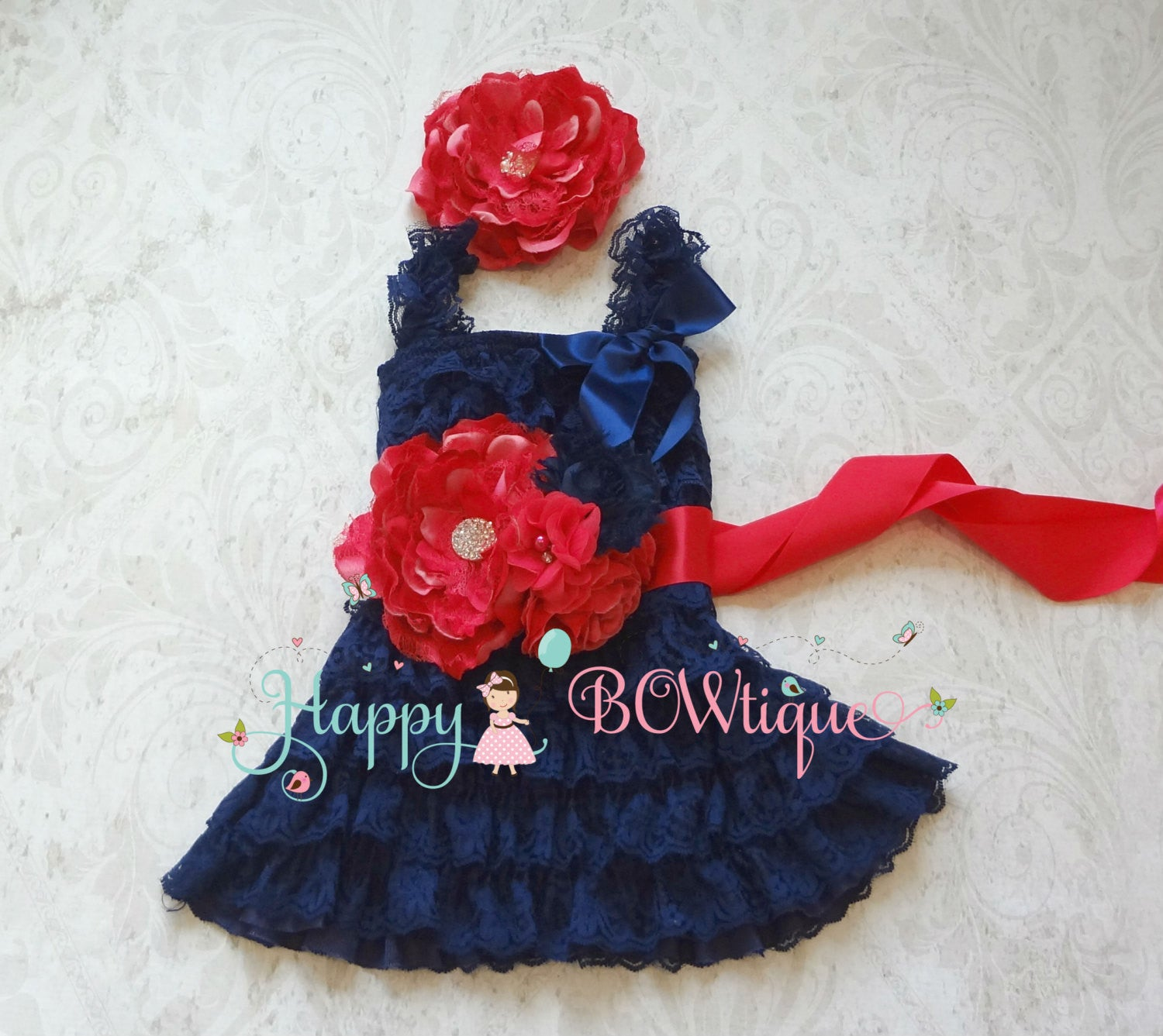 Embellished Fuchsia Navy Lace Petti Dress Set - Happy BOWtique - children's clothing, Baby Girl clothing