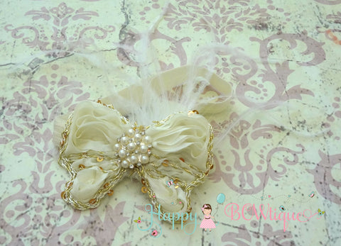 Ivory Chiffon Gold Butterfly Feather Headband - Happy BOWtique - children's clothing, Baby Girl clothing
