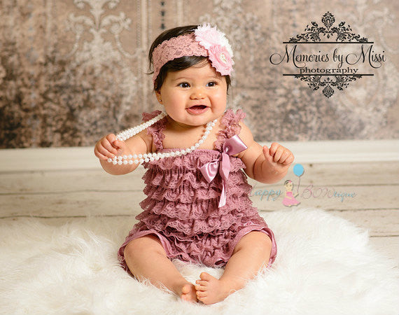 59fd00dcf Baby Pink Dusty Rose Lace Petti Romper set ~ Girl Dusty Rose Romper ...