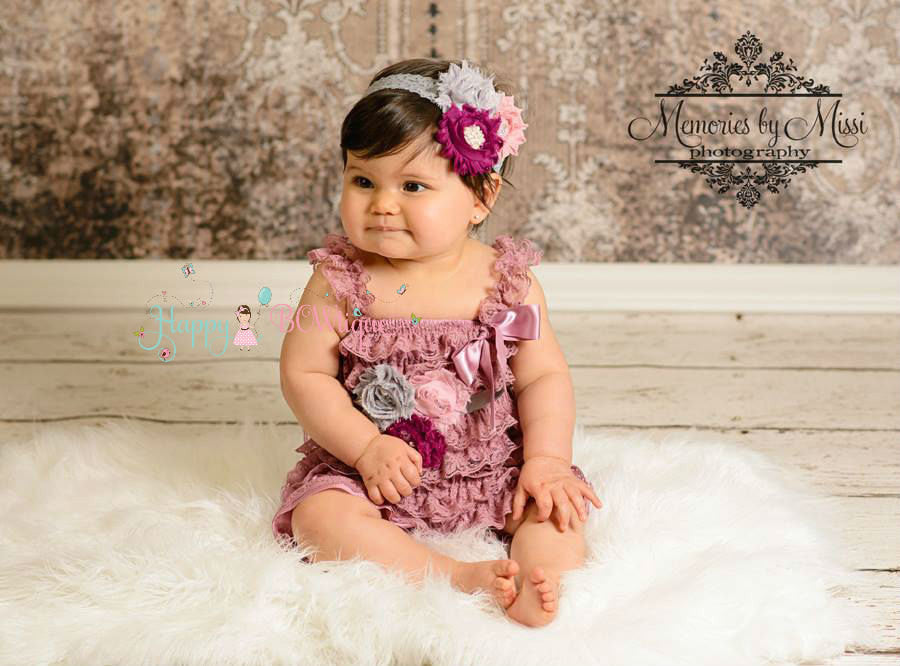 Dusty Grey Rose Petti Lace Romper - Happy BOWtique - children's clothing, Baby Girl clothing