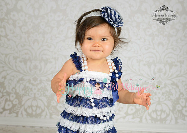Girl Navy Blue Stripes Lace Dress ~ Baby Girl Navy Lace Dress - Happy BOWtique - children's clothing, Baby Girl clothing