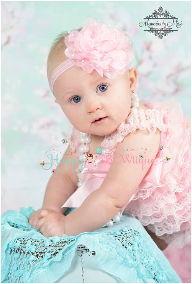 Large Baby Pink Tutu Dots Flower Headband - Happy BOWtique - children's clothing, Baby Girl clothing