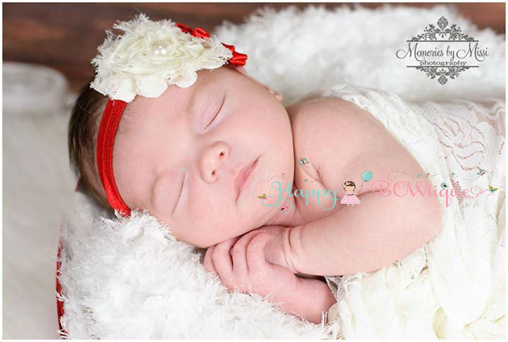 Ivory Red Flower headband - Happy BOWtique - children's clothing, Baby Girl clothing