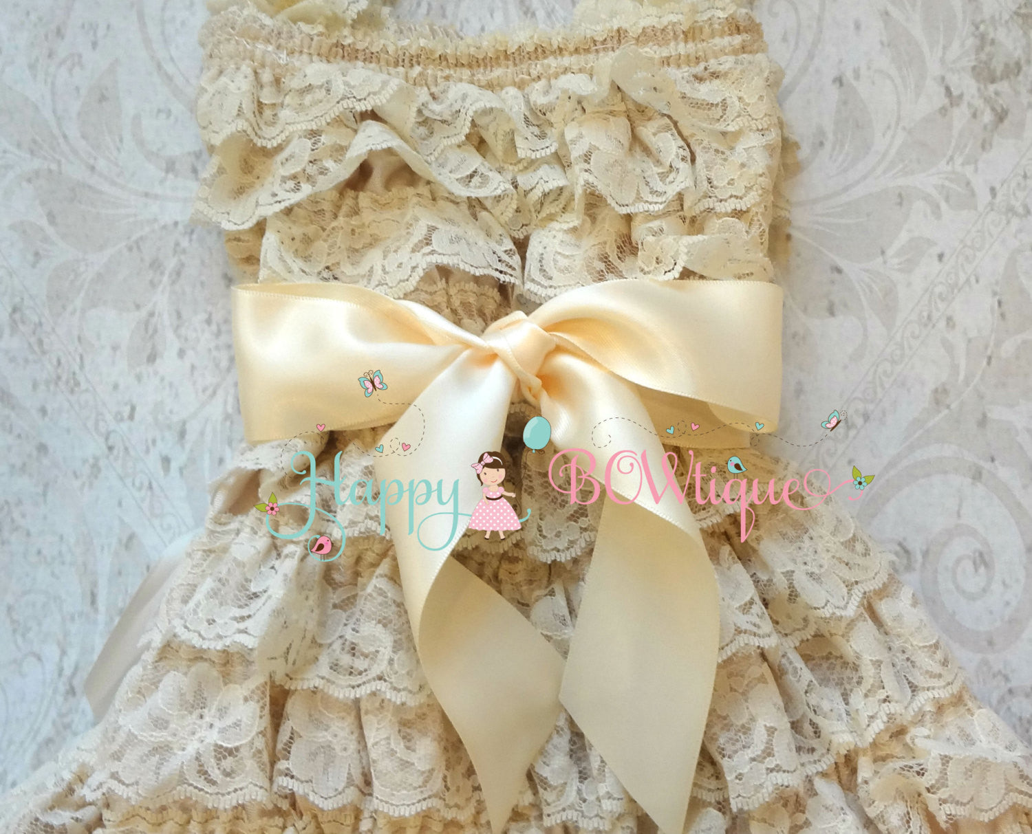 Blush Champagne Bow Lace Dress - Happy BOWtique - children's clothing, Baby Girl clothing