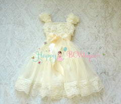 Girl Dark Ivory Plum Bow Lace Dress ~ Baby Girl Lace Dress - Happy BOWtique - children's clothing, Baby Girl clothing