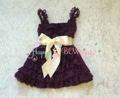 Girl Dark Ivory Plum Bow Lace Dress ~ Baby Girl Lace Dress with Satin bow.