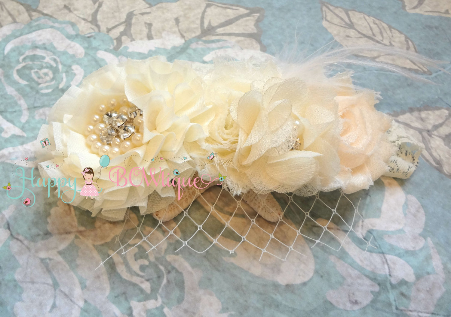 Ivory Cream Birdcage Feather Vintage headband - Happy BOWtique - children's clothing, Baby Girl clothing