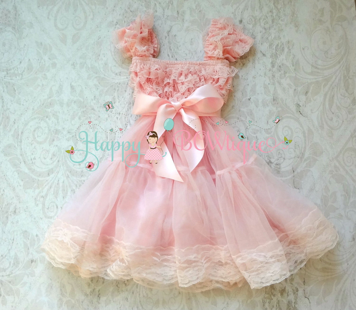 Baby Pink Bow Babydoll Chiffon Lace Dress - Happy BOWtique - children's clothing, Baby Girl clothing