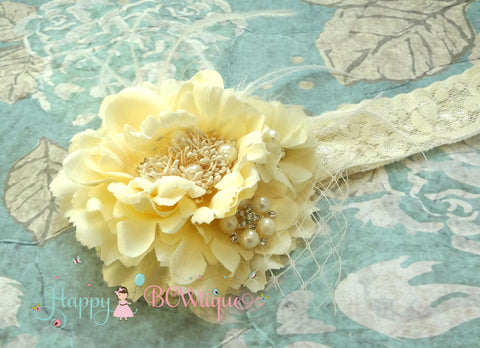Flower Ivory Cream Birdcage Rustic headband - Happy BOWtique - children's clothing, Baby Girl clothing