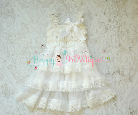 Victorian White Tier Chiffon lace dress - Happy BOWtique - children's clothing, Baby Girl clothing