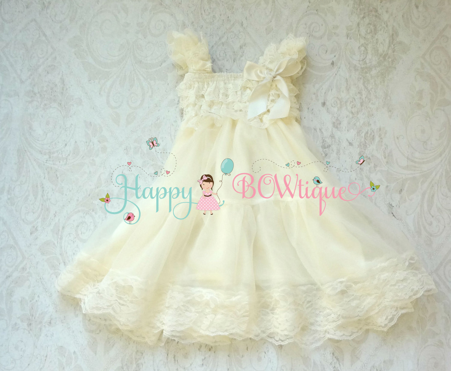Flower Girl Dress/ Girl's Ivory Champage Flower Chiffon Lace Dress set - Happy BOWtique - children's clothing, Baby Girl clothing