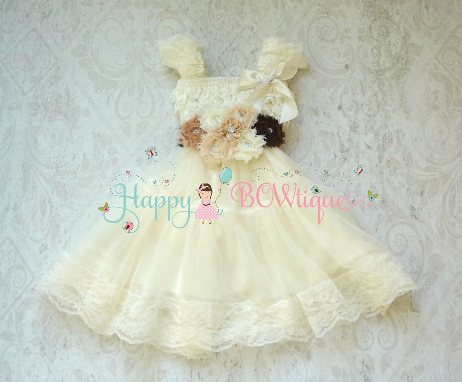 Rustic Flower girl dress/ Girl's Burlap Ivory Lace Chiffon Dress set - Happy BOWtique - children's clothing, Baby Girl clothing