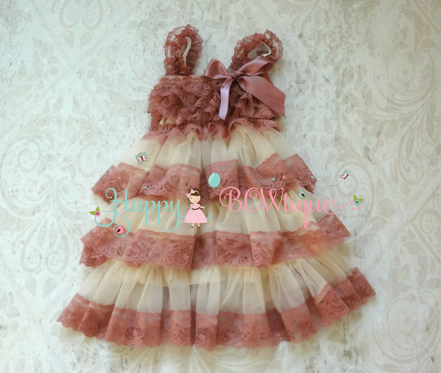 Champagne Rose Tier Chiffon lace Dress - Happy BOWtique - children's clothing, Baby Girl clothing