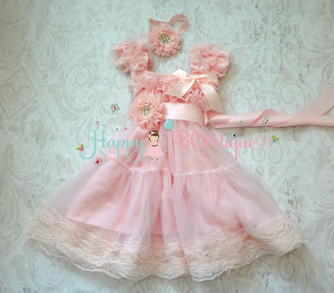 Girl's 1st Birthday Dress/ Girl's Chiffon Flower Dress Set - Happy BOWtique - children's clothing, Baby Girl clothing