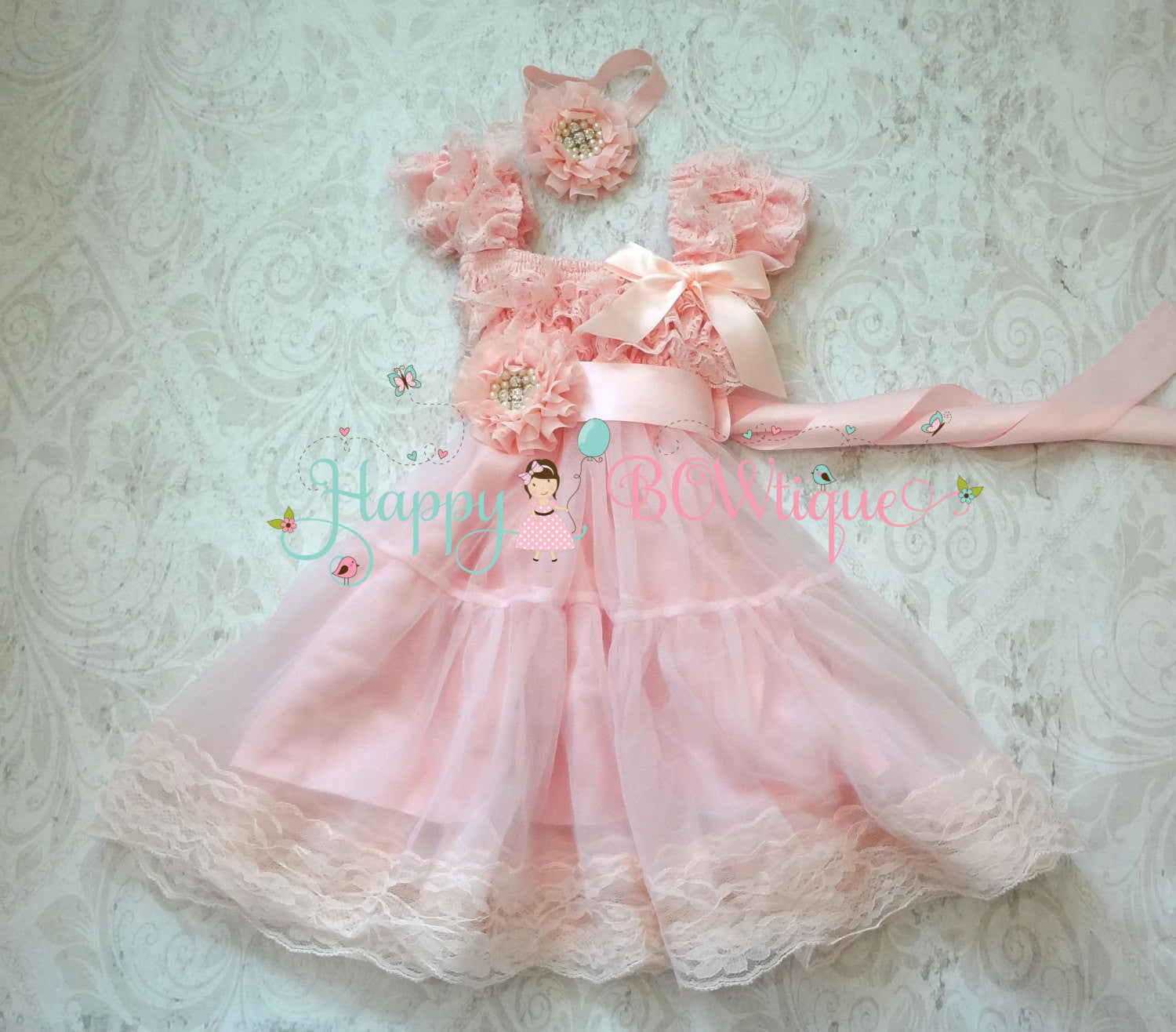 Baby Girls' dress/ Champagne PInk Chiffon Lace Dress set - Happy BOWtique - children's clothing, Baby Girl clothing