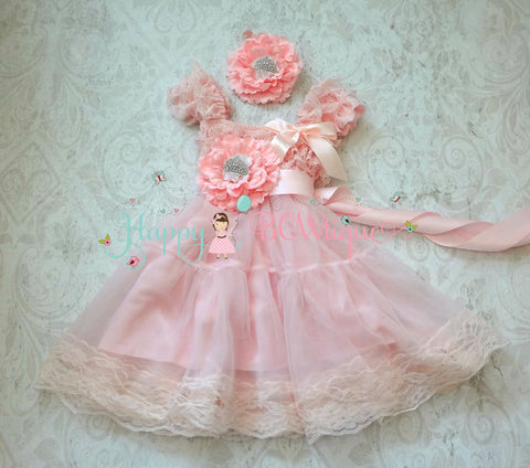 Girl's Princess Dress/ Girl'sPrincess Tiara Pink Chiffon Lace Dress set - Happy BOWtique - children's clothing, Baby Girl clothing