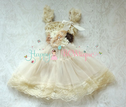 Burlap Flower girls dress/ Girl Champagne Rustic Lace Chiffon Dress set - Happy BOWtique - children's clothing, Baby Girl clothing