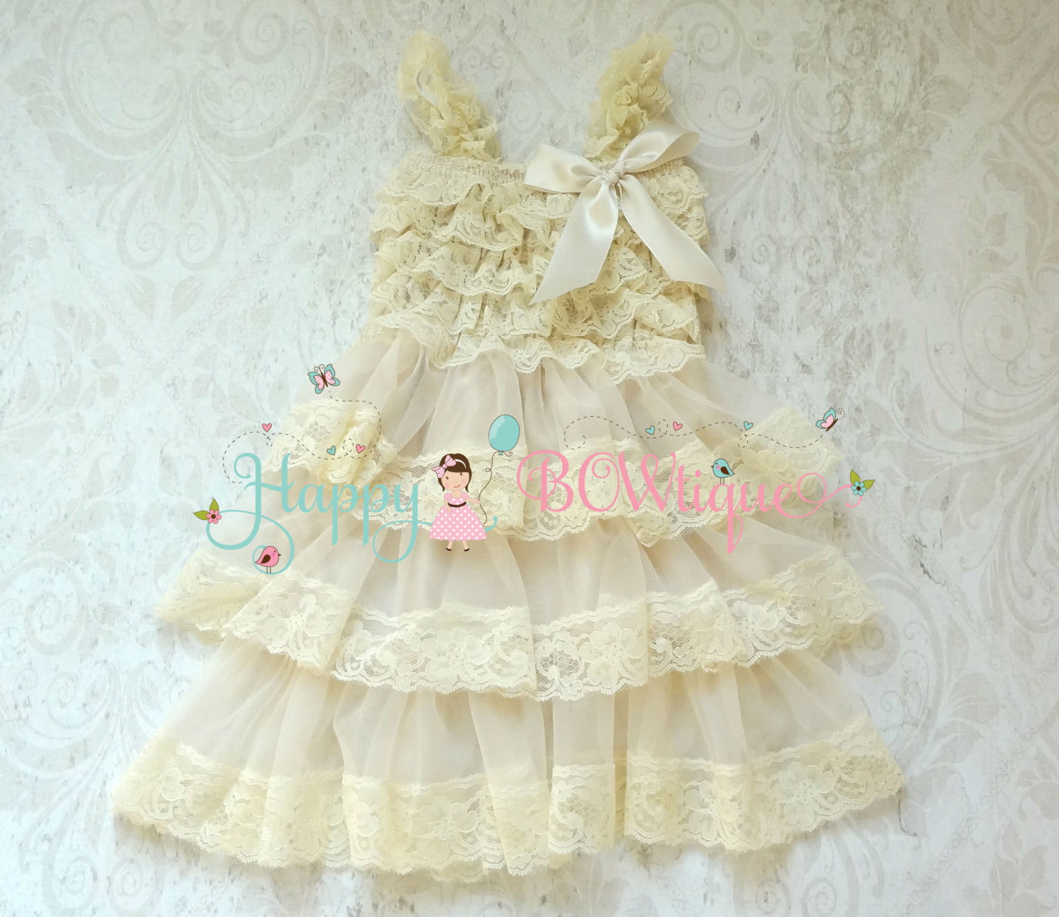 Rustic Champagne Beige Tier Chiffon lace dress - Happy BOWtique - children's clothing, Baby Girl clothing