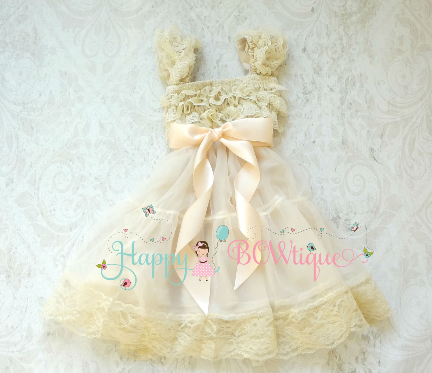 Blush Champagne Babydoll Chiffon Lace Dress - Happy BOWtique - children's clothing, Baby Girl clothing