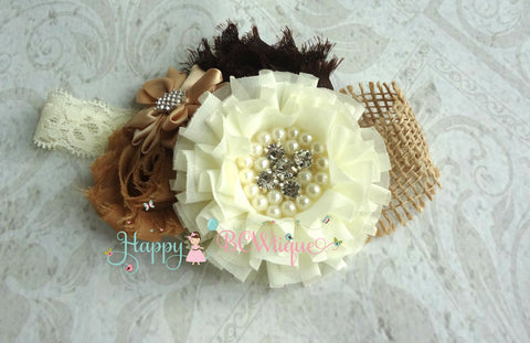 Flower Girl Burlap Headband - Happy BOWtique - children's clothing, Baby Girl clothing