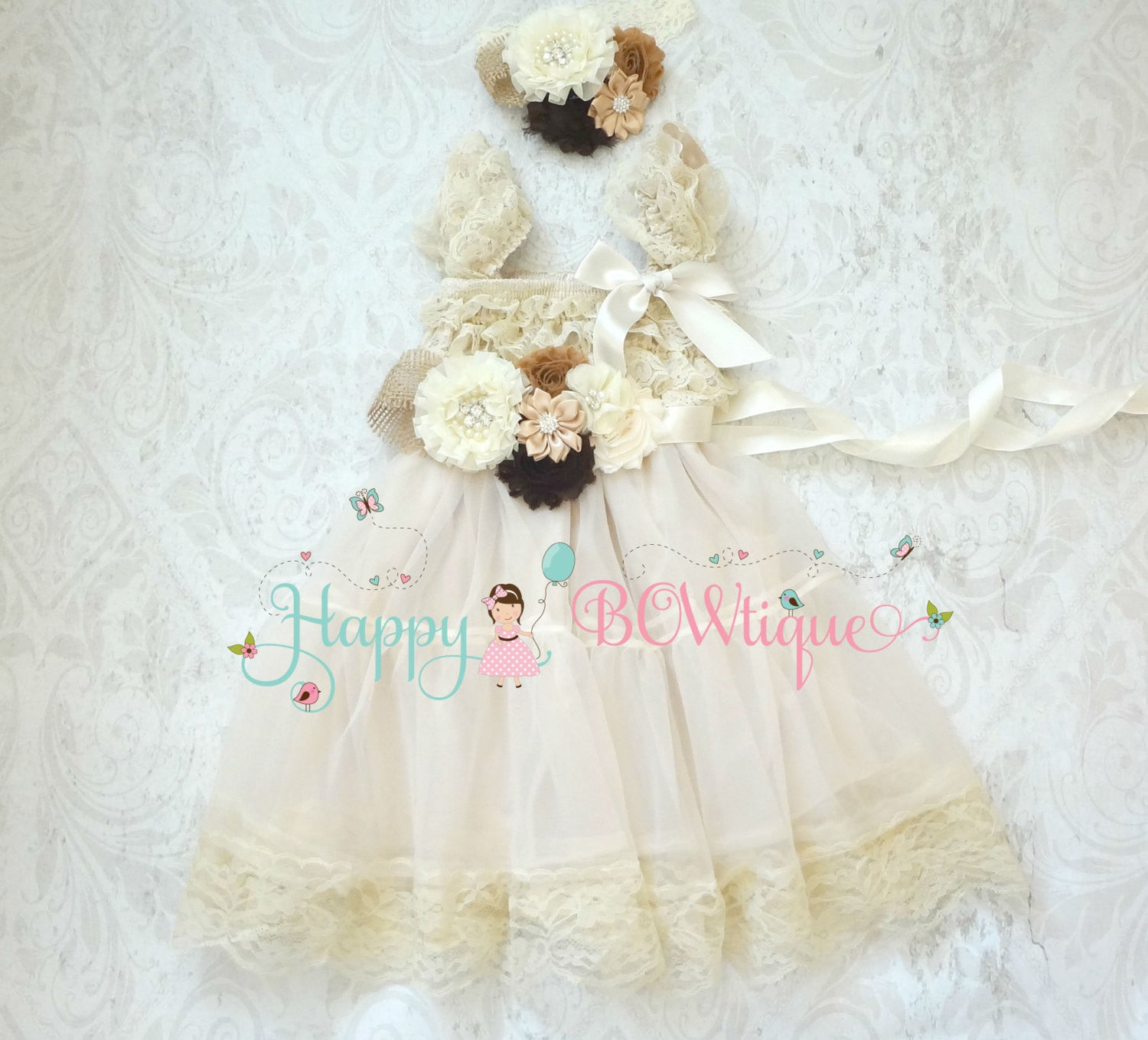 Burlap Flower girl dress/ Burlap Ivory Chiffon Lace Dress set - Happy BOWtique - children's clothing, Baby Girl clothing