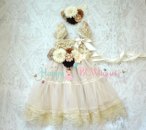 Champagne Flower girls dress / Burlap Champagne Chiffon Lace Dress set - Happy BOWtique - children's clothing, Baby Girl clothing
