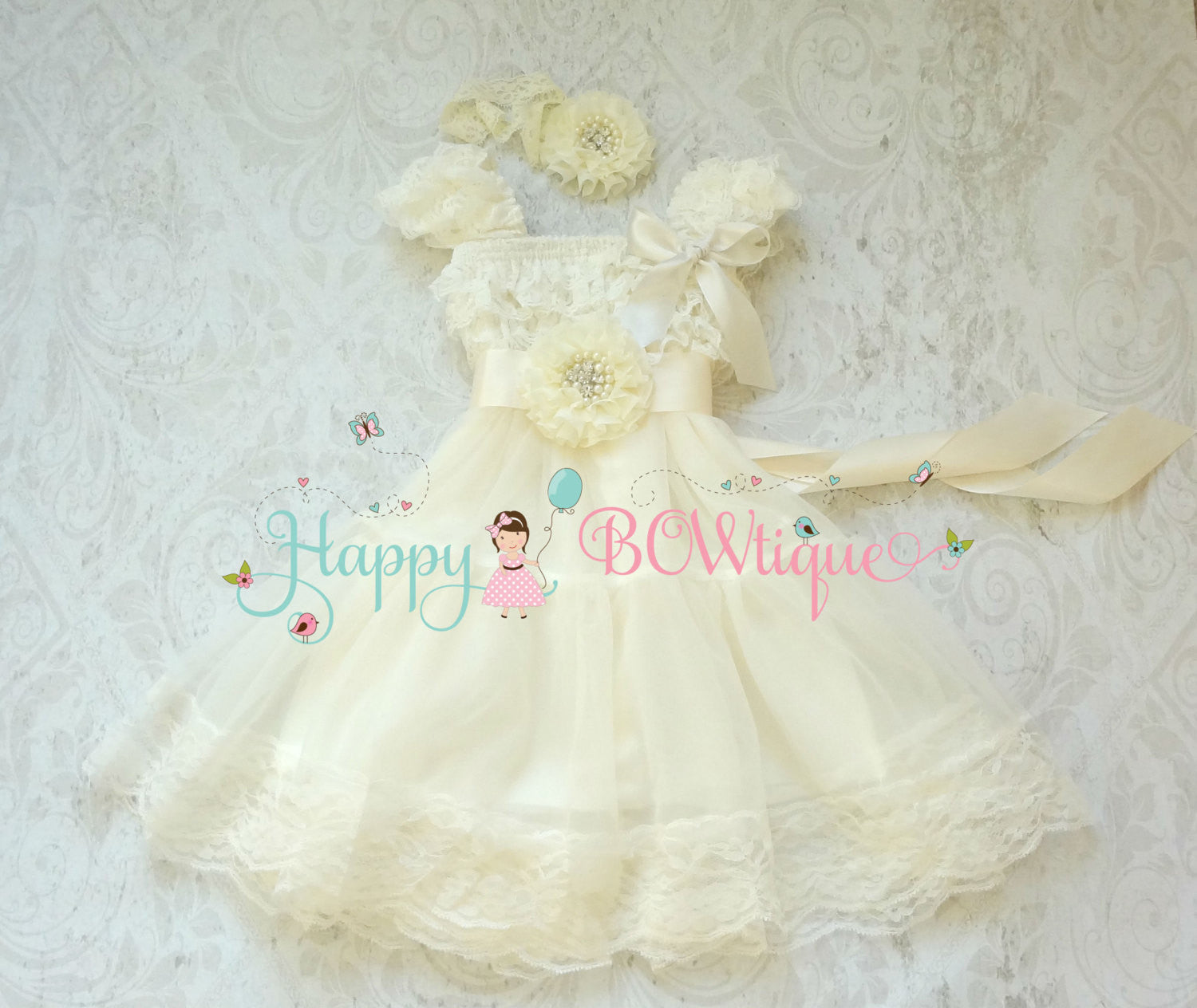 Rustic Ivory Chiffon Lace Dress Girls - Happy BOWtique - children's clothing, Baby Girl clothing