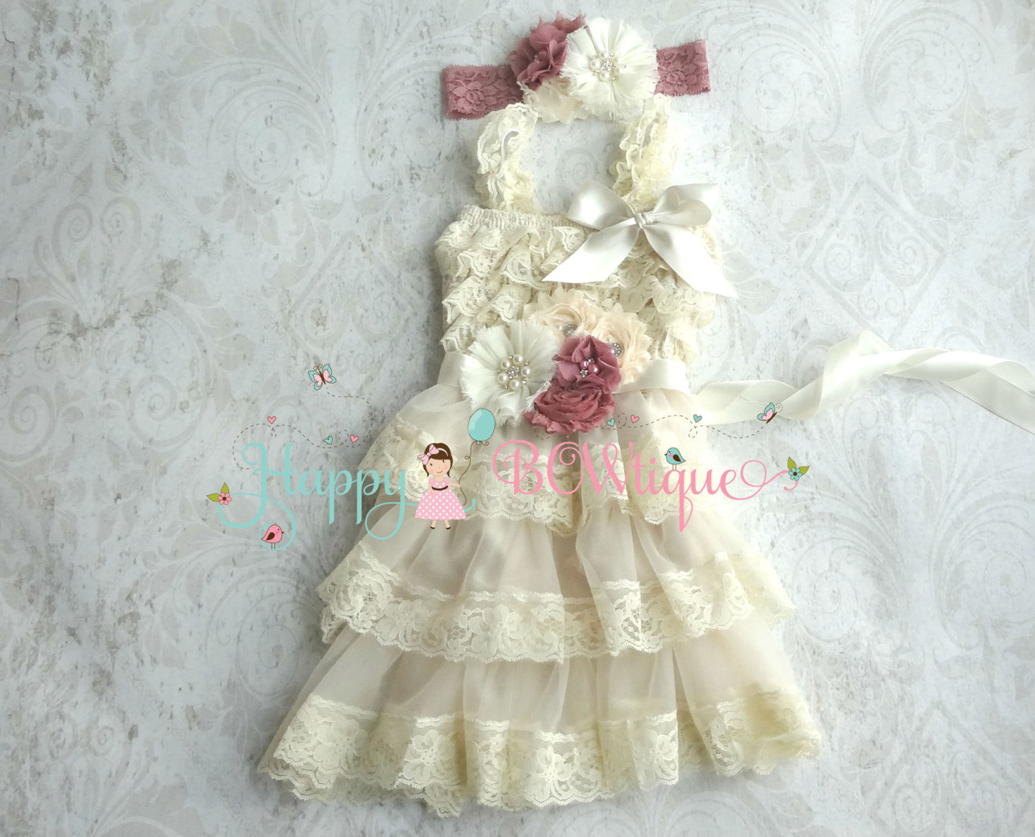 Girl's Champange Dress / Champagne Rose Chiffon Lace Dress set - Happy BOWtique - children's clothing, Baby Girl clothing
