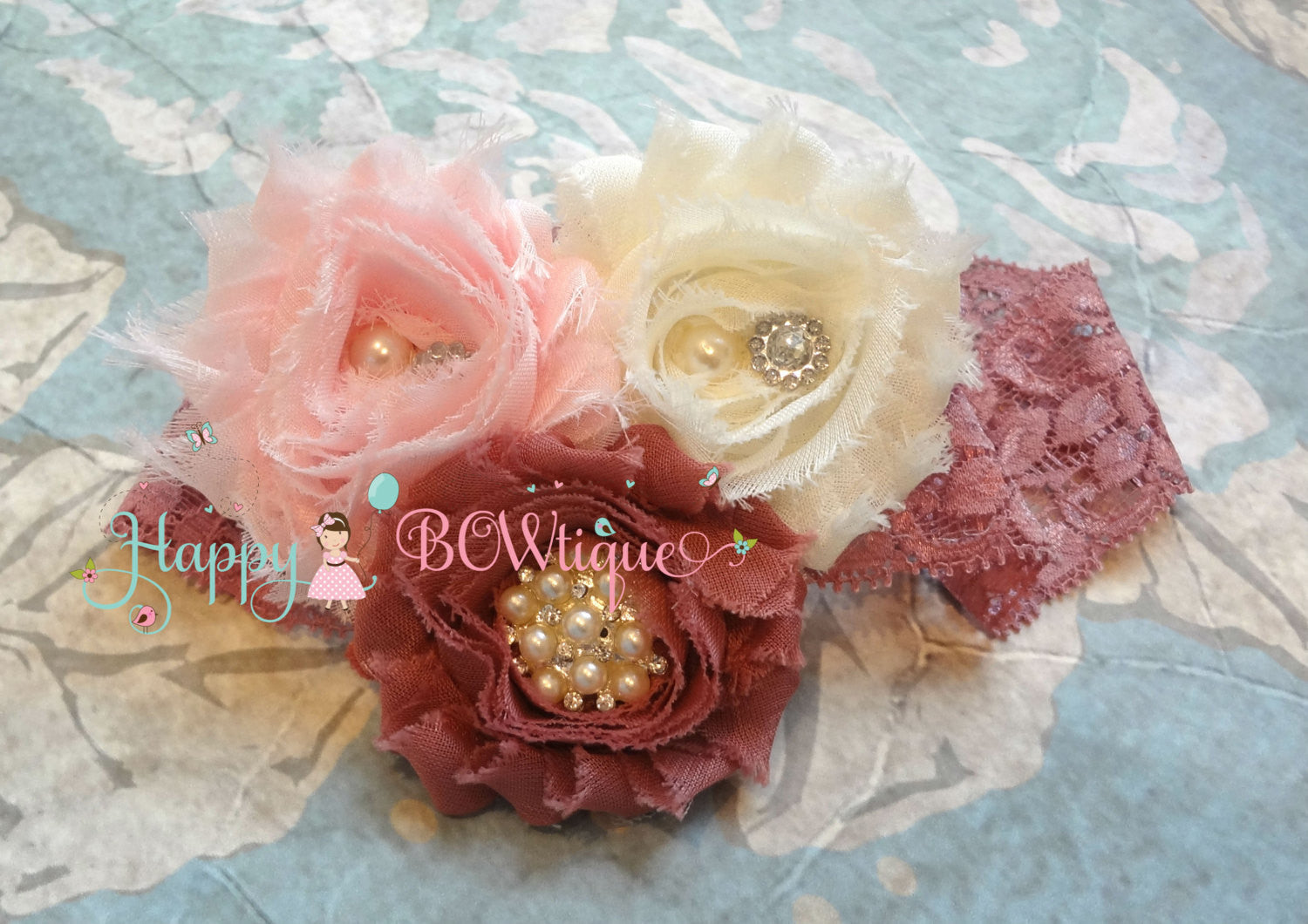 Ivory Pink and Dusty Rose Lace headband - Baby Girl Dusty Rose Headband, Happy Bowtique