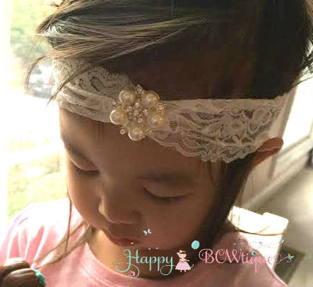 Girls Wide Lace Pearl Rhinestone Headband - Happy BOWtique - children's clothing, Baby Girl clothing