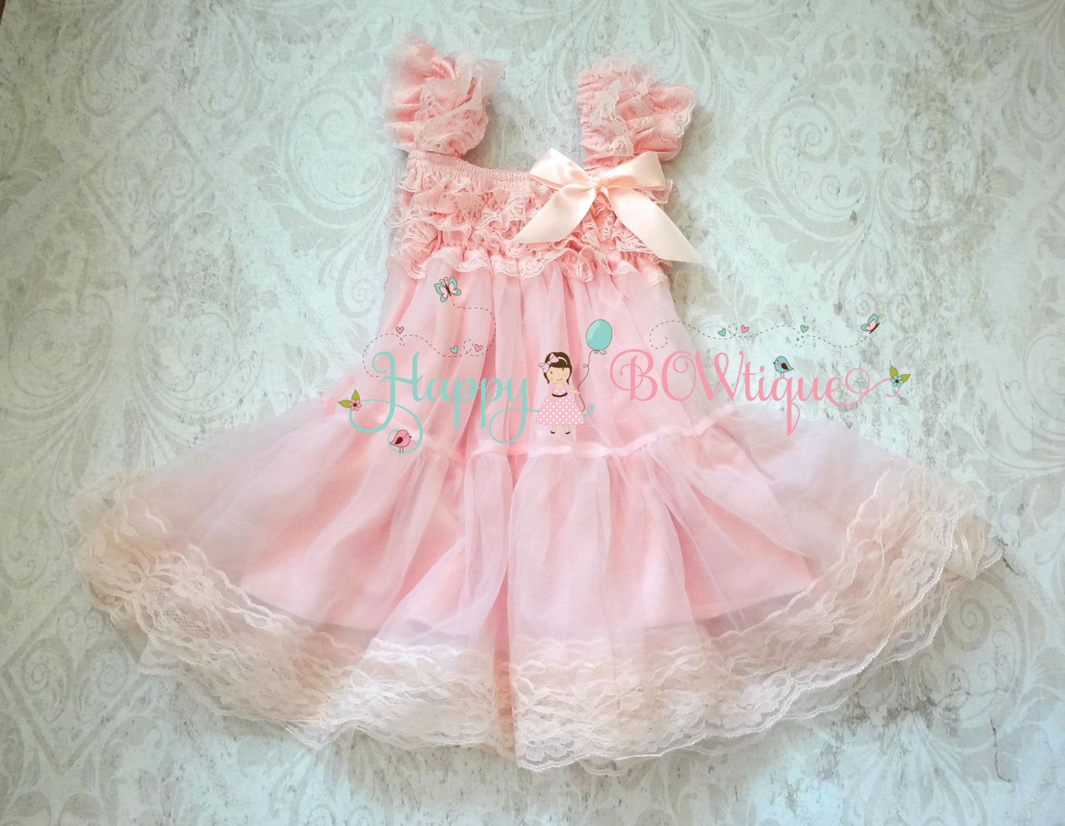 Babydoll Pink Chiffon Lace Dress set - Happy BOWtique - children's clothing, Baby Girl clothing
