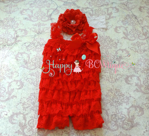 Girl's Flower Red Romper set - Happy BOWtique - children's clothing, Baby Girl clothing