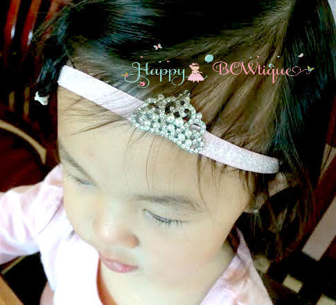 Princess Crown tiara Rhinestone Glitter headband - Happy BOWtique - children's clothing, Baby Girl clothing