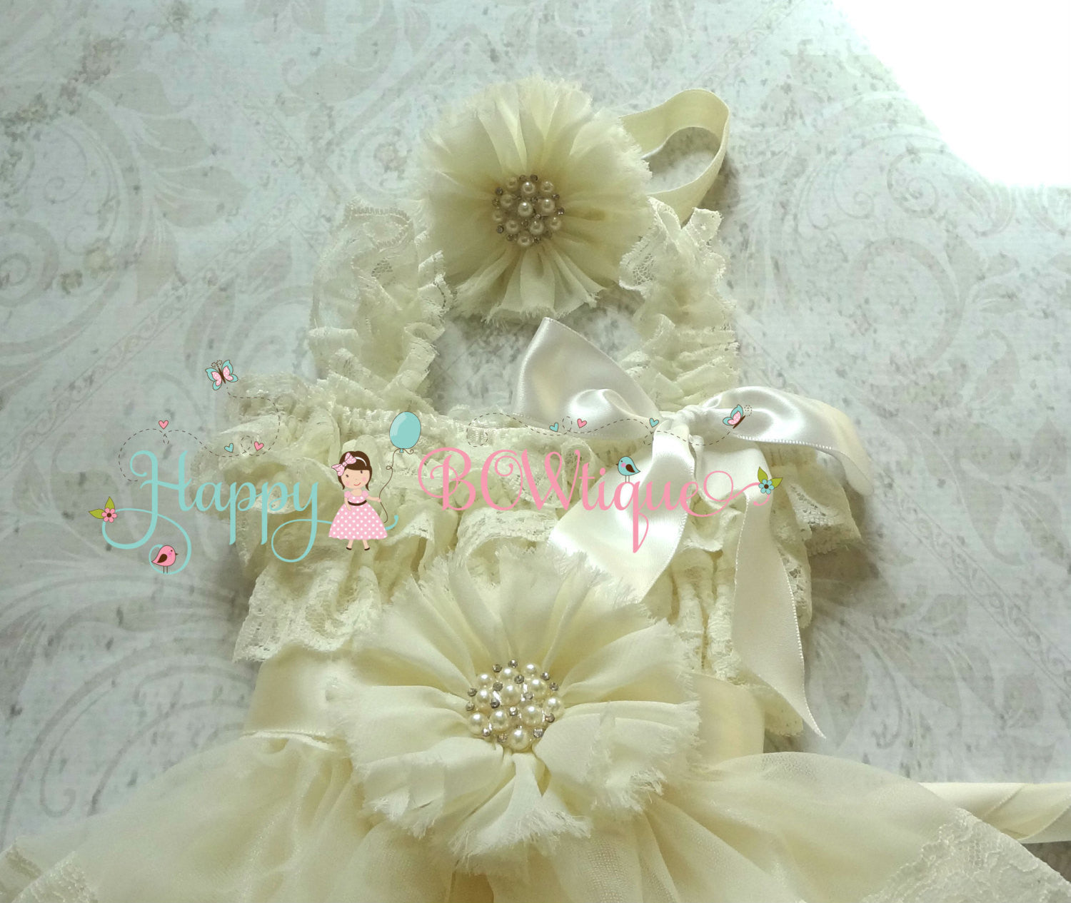 Ballerina Ivory Headband - Happy BOWtique - children's clothing, Baby Girl clothing