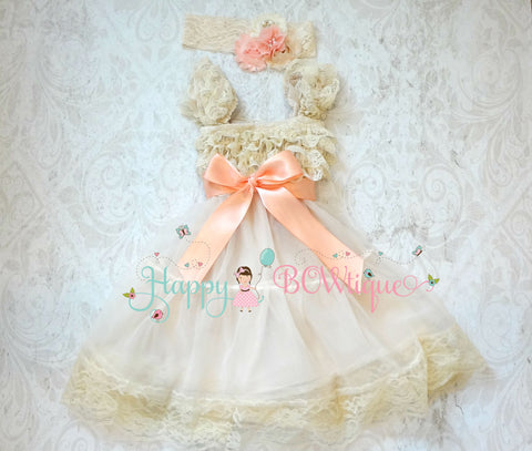 Champagne girls dress/ Girl Blush Champagne Peach dress - Happy BOWtique - children's clothing, Baby Girl clothing