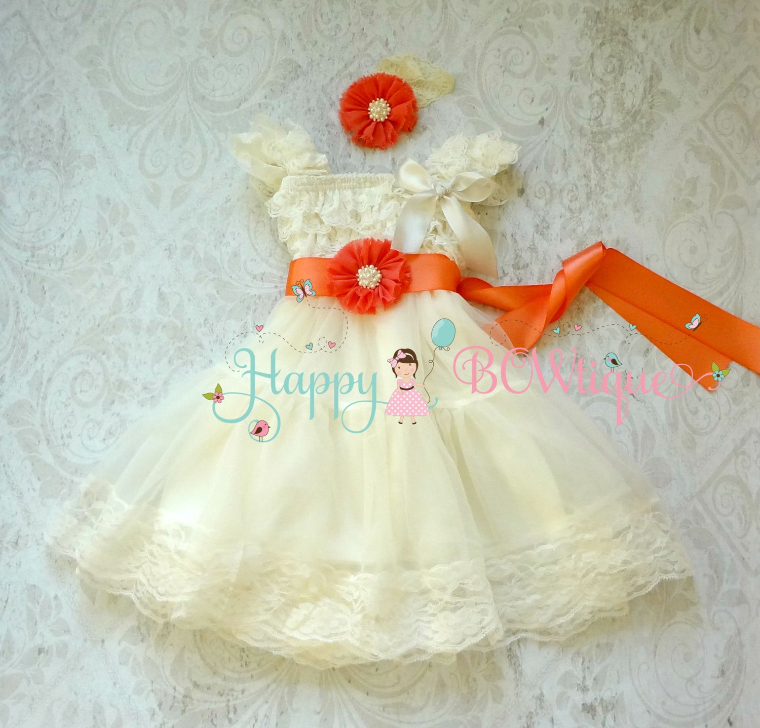 Flower girls dress/ Coral Ivory Chiffon Lace Dress set - Happy BOWtique - children's clothing, Baby Girl clothing