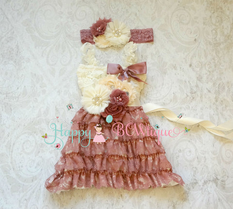 Ivory Vintage Rose Lace Dress set - Happy BOWtique - children's clothing, Baby Girl clothing