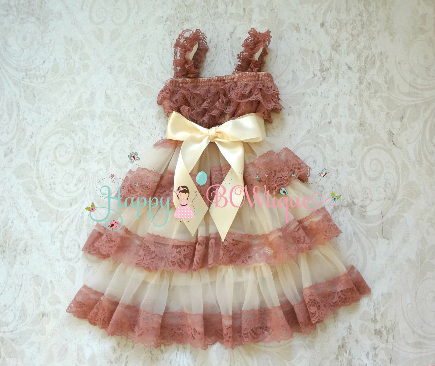 Champagne Rose Chiffon Tier Lace Dress - Happy BOWtique - children's clothing, Baby Girl clothing