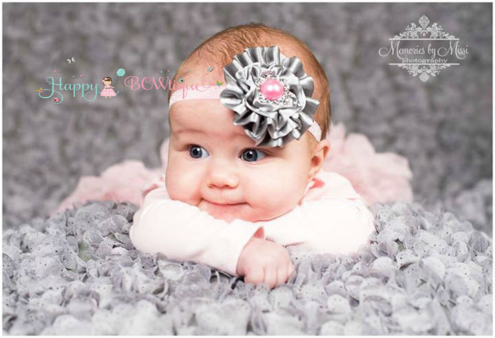 Silver Pink Satin headband - Happy BOWtique - children's clothing, Baby Girl clothing