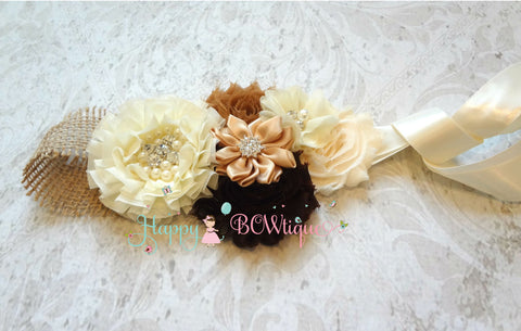 Wedding Bridal Flower Sash/ Embellished Burlap Flower Sash - Happy BOWtique - children's clothing, Baby Girl clothing