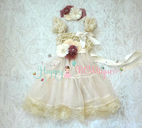 Flower girl dress/ Girl's Champagne Rose Chiffon Lace Dress set - Happy BOWtique - children's clothing, Baby Girl clothing