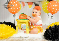 Sale- Candy Corn Petti romper, ruffle romper,baby romper,Birthday outfit, girls outfit, halloween outfit, fall dress, yellow romper, newborn - Happy BOWtique - children's clothing, Baby Girl clothing