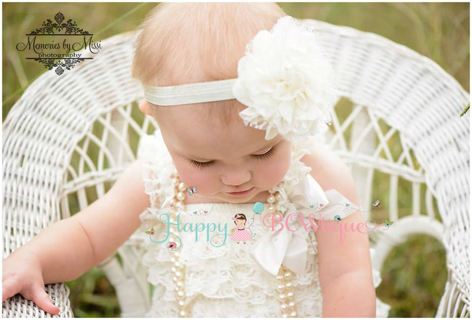 Large Ivory Lace Puff Headband - Happy BOWtique - children's clothing, Baby Girl clothing