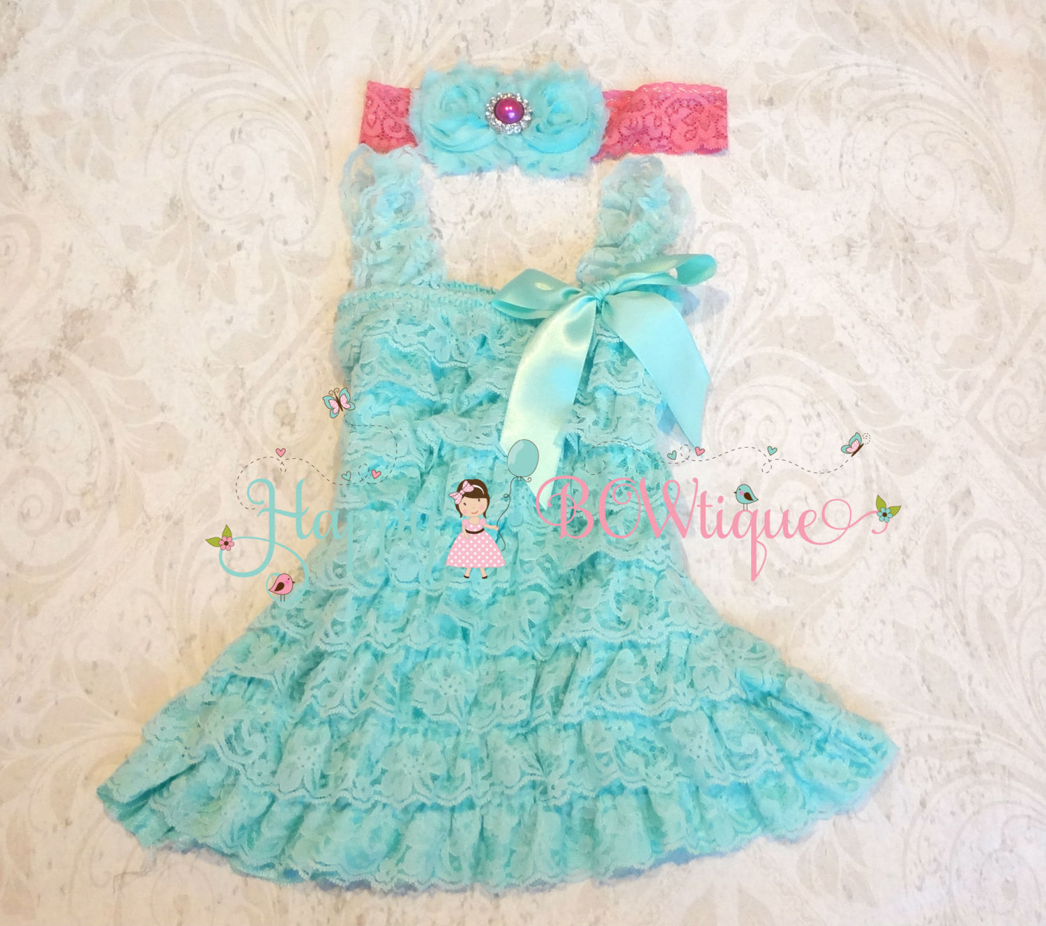 Girl Light Aqua Lace Dress~ Aqua Petti Lace Baby Girl Dress - Happy BOWtique - children's clothing, Baby Girl clothing