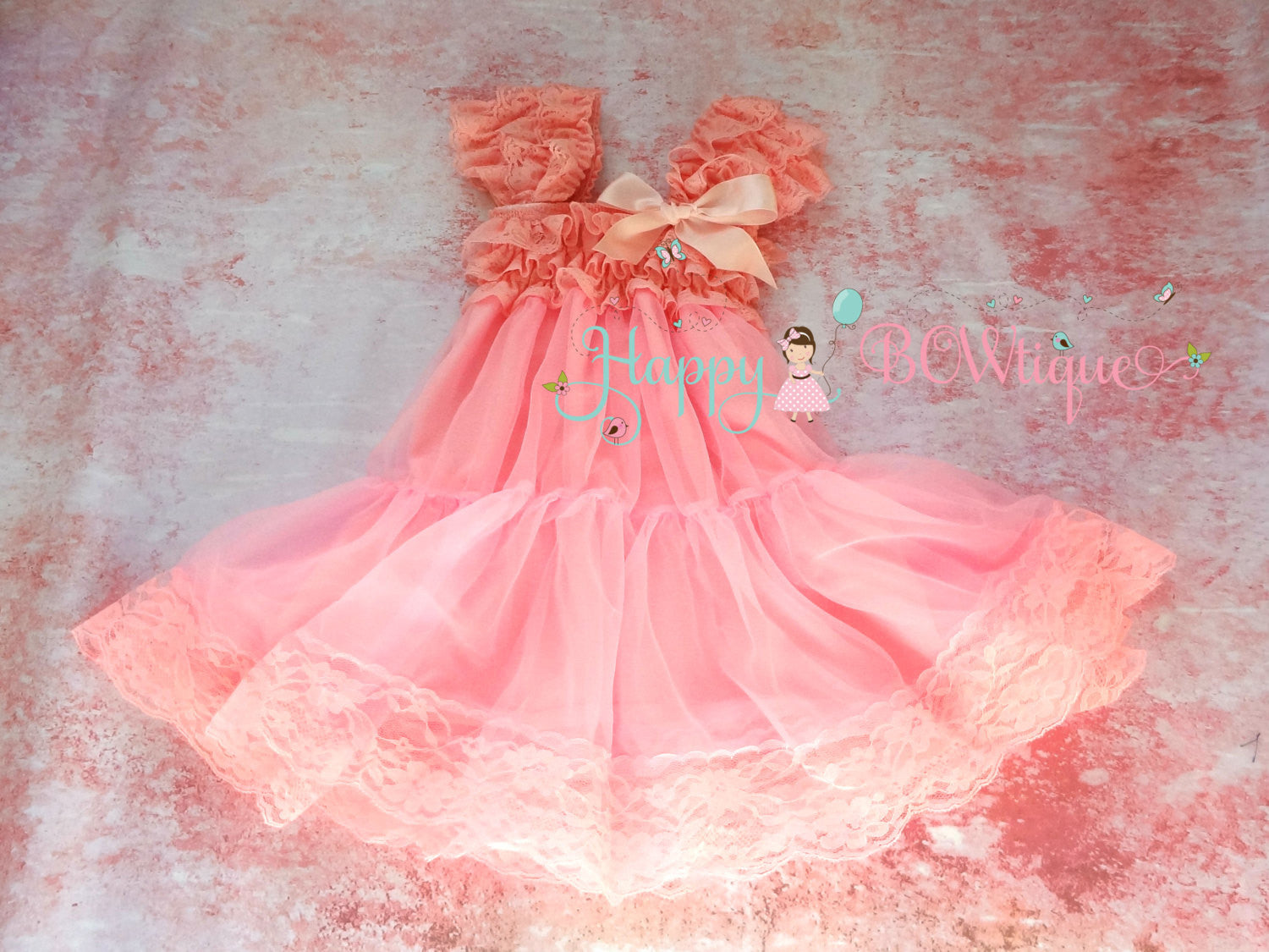 Girl Babydoll Pink Chiffon Lace Dress ~ Girl Light Pink Flowy Dress - Happy BOWtique - children's clothing, Baby Girl clothing