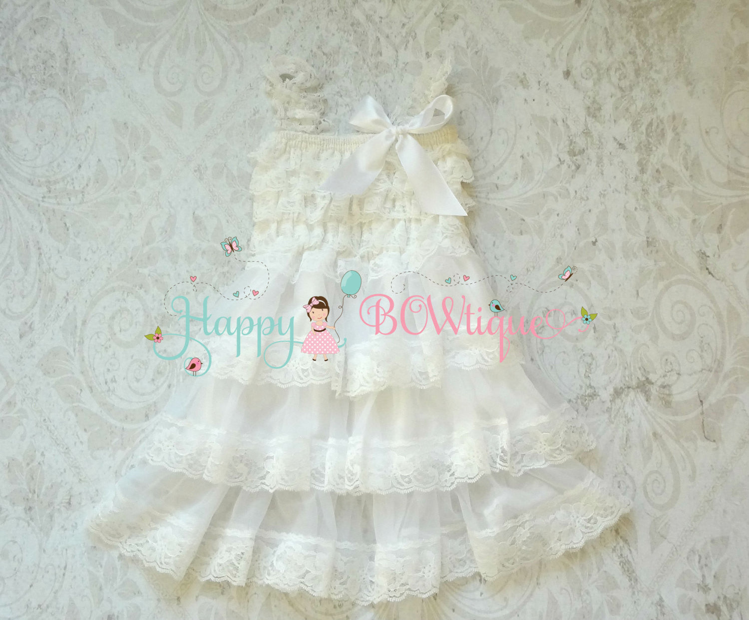 Victorian White Chiffon lace dress set / Girl White Lace Dress - Happy BOWtique - children's clothing, Baby Girl clothing
