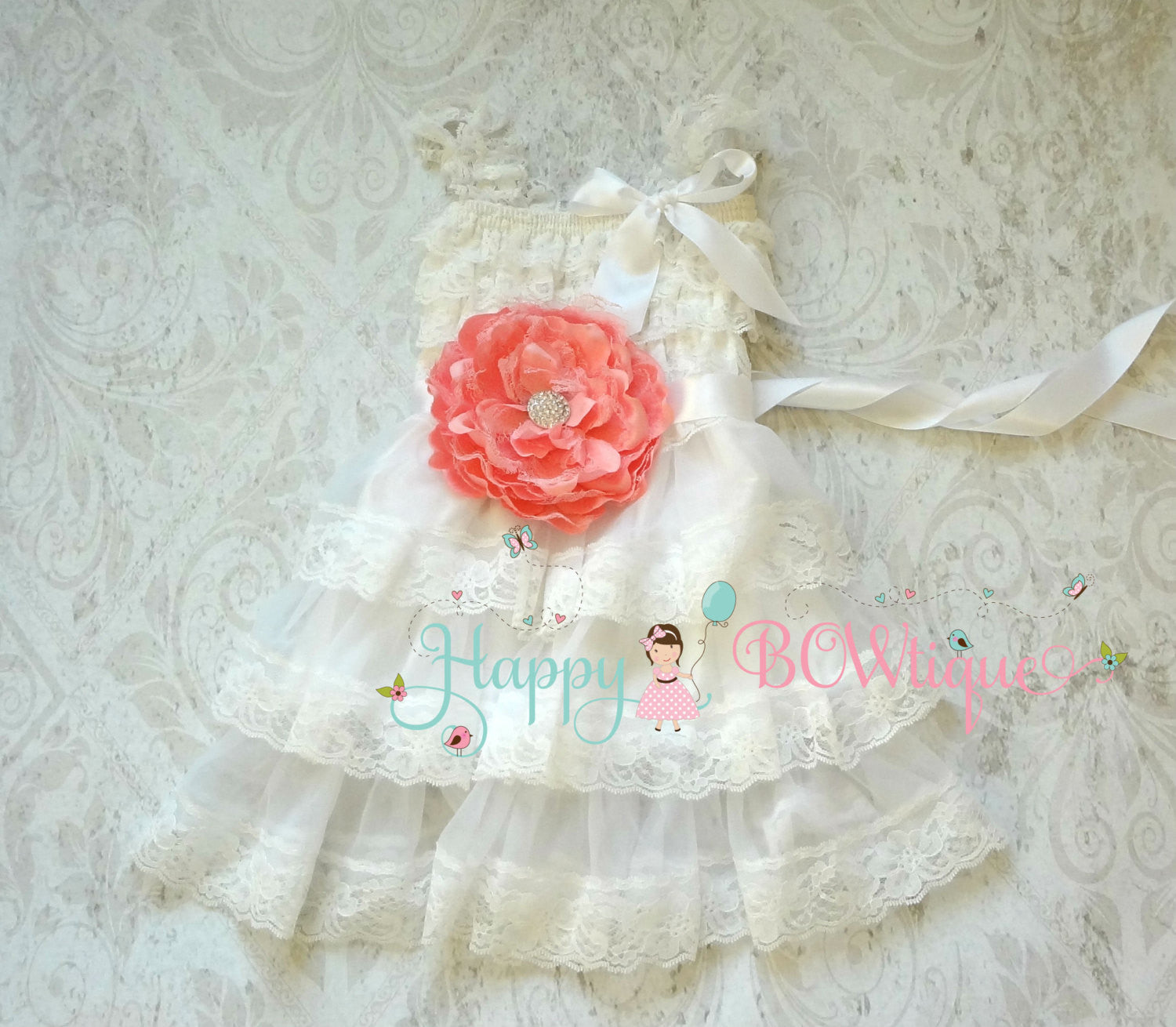 Coral White Peach Chiffon lace dress set / Girl's White Lace Dress - Happy BOWtique - children's clothing, Baby Girl clothing