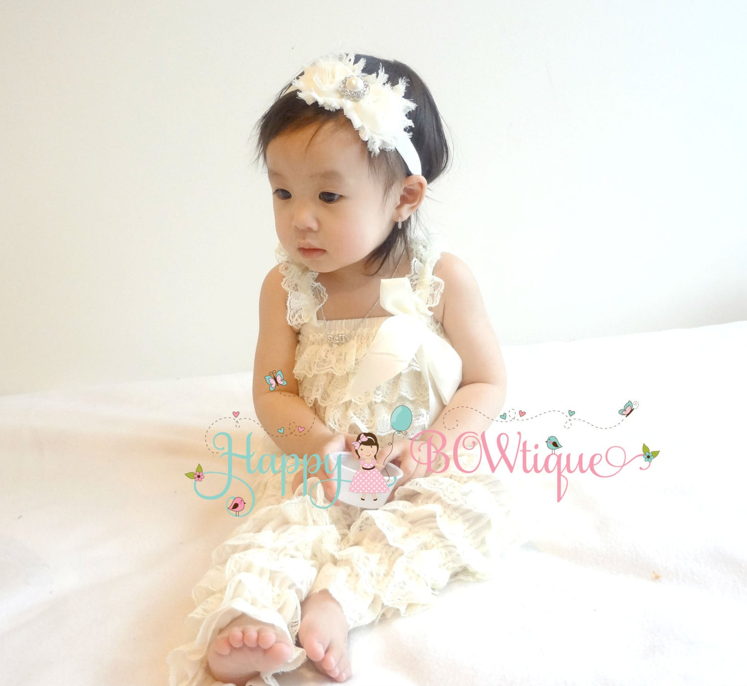 7dbf24c66e30 Vintage Ivory Petti Lace Romper set - Happy BOWtique - children s clothing