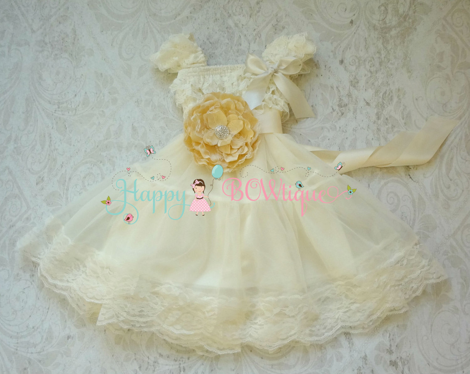 Girl's Dresses/ Girl's Ivory Champage Flower Chiffon Dress set - Happy BOWtique - children's clothing, Baby Girl clothing
