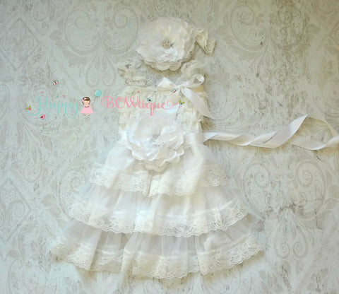 Girl White Dress Set / Victorian White Flower Chiffon lace dress set - Happy BOWtique - children's clothing, Baby Girl clothing